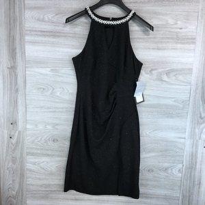 Marina Embellished Collar Jersey Metallic Dress